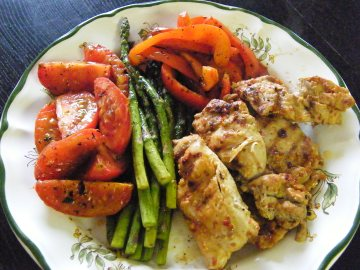 grilled harissa chicken and veggies
