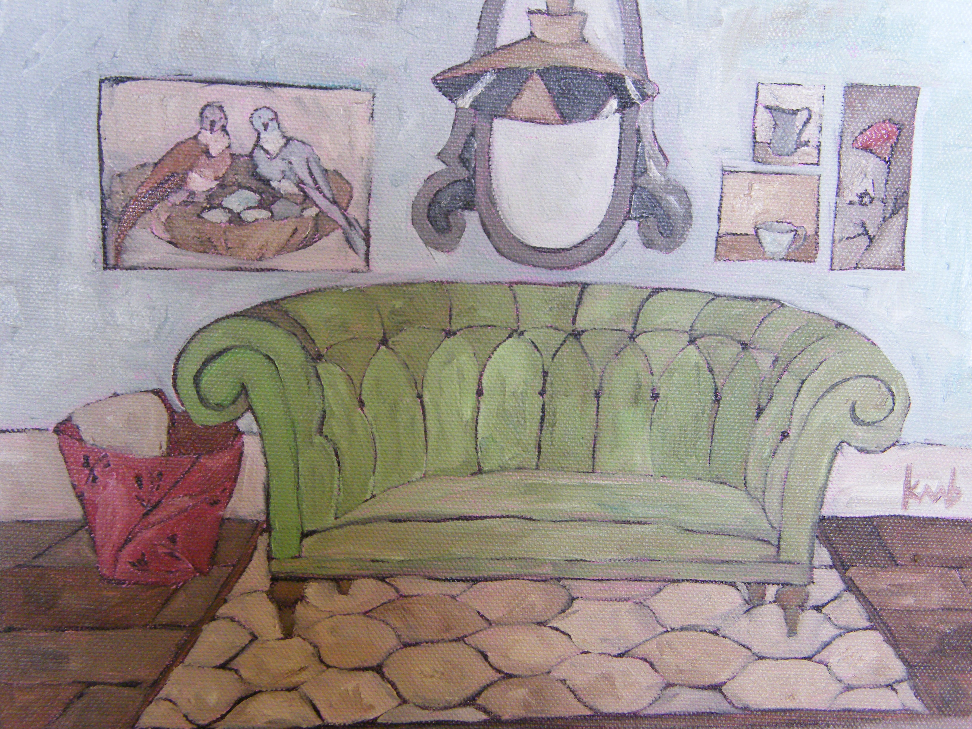 Beau The Green Velvet Sofa, 8×10 Oil On Wrapped Canvas, Sides Are Painted Rose,  No Framing Required (purchase On Etsy)